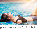 Woman at swimming pool in summer in luxury resort. 58178630