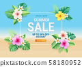 Summer sale card with hibiscus flowers on tropical 58180952