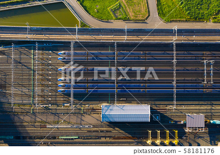 Above view of high speed train maintenance 58181176