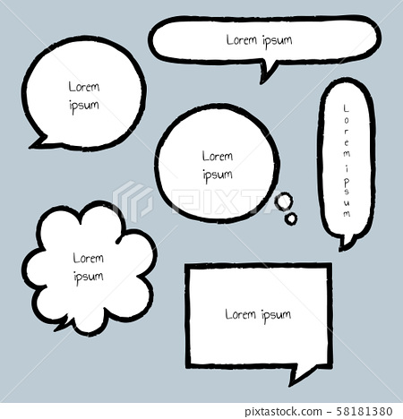 collection set of hand drawing, grunge, crayon, speech bubble balloon, think, speak, talk, template, frame, border, text box, banner, frame 58181380
