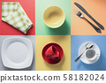 kitchenware at colorful background 58182024
