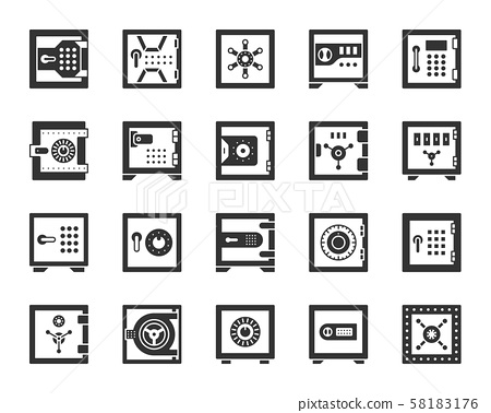 Safe bank cell black silhouette icons vector set 58183176
