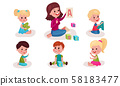 Set With Nursery-Teacher Showing To Preschoolers Big Letters Vector Illustrations Cartoon Characters 58183477