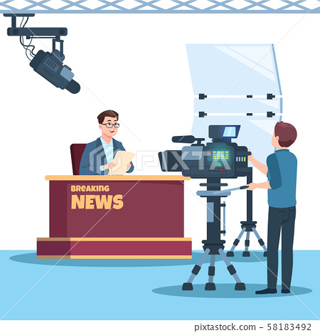 Breaking news tv show studio. Anchorman, cameraman, spotlights and camera vector illustration 58183492