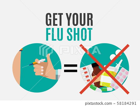 Get Your Flu Shot Vaccination concept flat 58184291