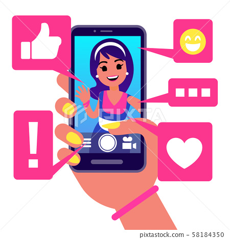 Social Media App Girl Makes Selfie Vector Stock Illustration 58184350 Pixta