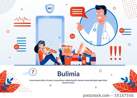 Bulimia Eating Disorder Treatment Vector Banner 58187508
