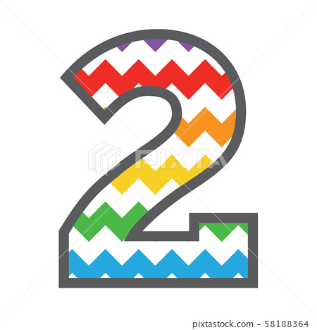 2 Two Chevron Number with colorful rainbow pattern 58188364