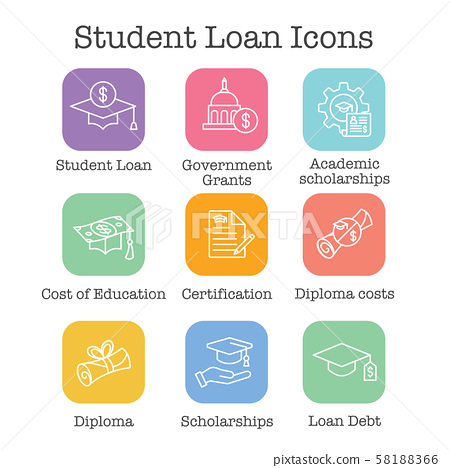 Student Loans Icon Set with Academic Scholarships 58188366
