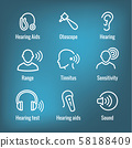 Hearing Aid or loss with Sound Wave Images Set 58188409