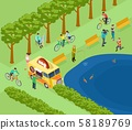 People relax in park, ride bicycle, photograph and fishing, eat and jogging. Isometric green park 58189769