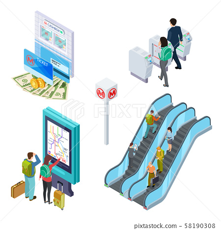 Isometric metro elements. Subway escalator, turnstile, info desk with people. 3d underground 58190308