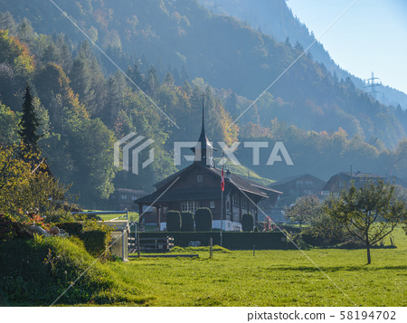 Old wooden church on mountain 58194702