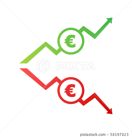 Down Arrows With Euro Sign In Flat Icon