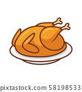 Roasted bird on a platter. 58198533