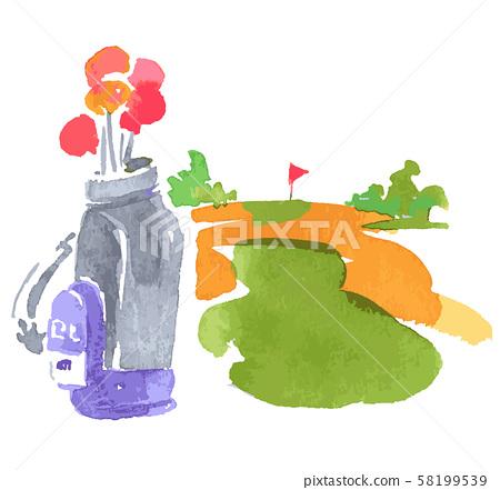 高爾夫球場和高爾夫球袋 58199539