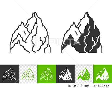 Mountain climbing simple black line vector icon 58199636