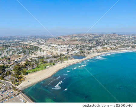 Aerial view of Dana Point Harbor town and beach 58200040