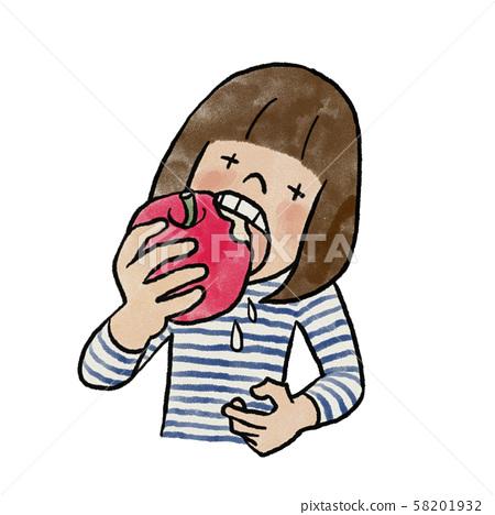 Girl biting into an apple 58201932