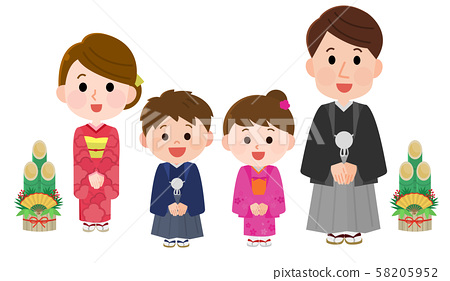 Kimono Family Bowing New Year Illustration 01 58205952