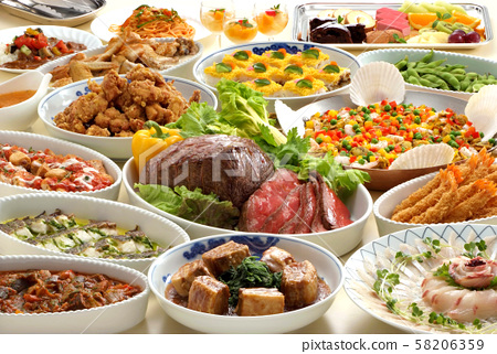 美食魚牛肉豬肉菜餚自助餐日式西餐日式西餐晚餐甜點烤牛肉 58206359