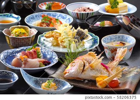 日本料理日本料理Womizen懷石料理日本懷石料理美食日本料理鹽燒生魚片天婦羅 58206375