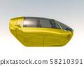 Futuristic Autonomous Electric Vehicles 3D Illustration 58210391
