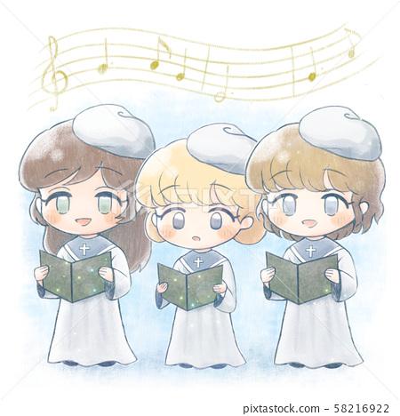 Hand-drawn and choir children 1 58216922