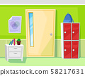 School Classroom Interior Door and Lockers Vector 58217631
