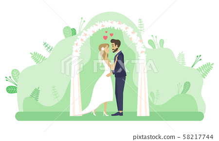Wedding Ceremony Couple by Altar Marriage Vector 58217744