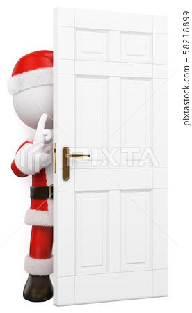 3D white people. Santa Claus hidden behind a door 58218899