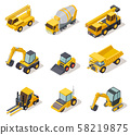 Isometric industrial machinery. 3d construction equipment truck vehicle power tools heavy machine 58219875