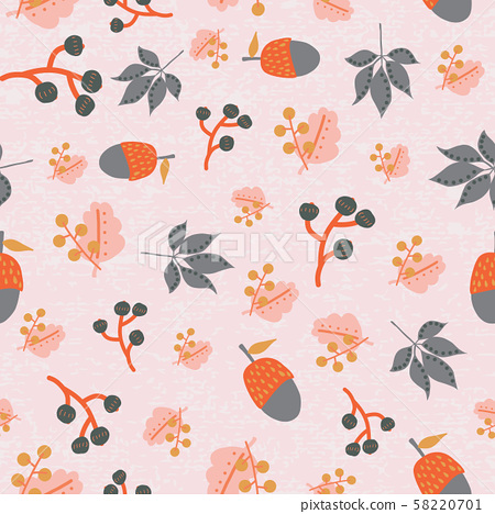 Scattered fall leaves berries acorn seamless vector background. Abstract fall pattern pink orange 58220701