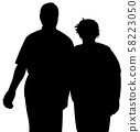 a couple together silhouette vector 58223050