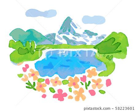 瑞士湖和鮮花 58223601