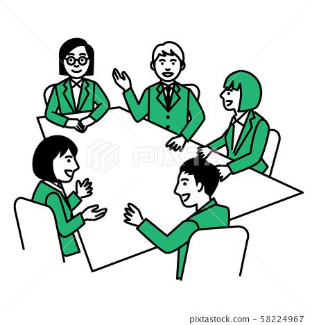 각 테이블에서 회의하는 남녀 58224967