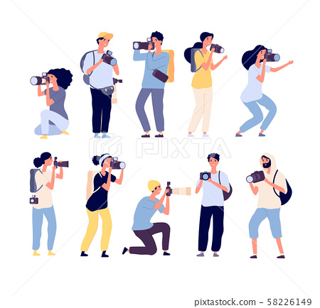 Cartoon photographers. People photograph with camera. Amateur and professional photography 58226149