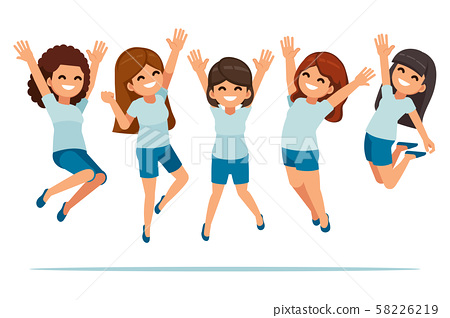Happy woman jumping to after some success life. 58226219
