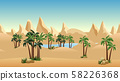 Oasis in desert landscape background for cartoon or adventure game asset or scene design. Sand dunes, palms,blue lake and mountainss. Horizontally seamless. Vector illustration 58226368