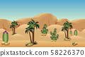 Desert landscape background for cartoon or adventure game asset or scene design. Sand dunes, palms, cactuses with flowers, rocks and mountains. Horizontally seamless. Vector illustration 58226370