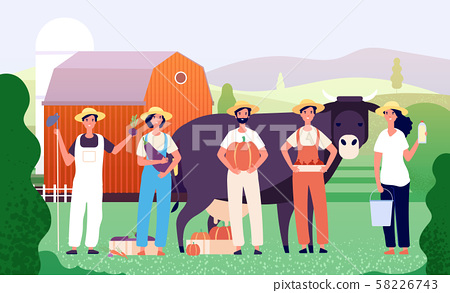 Farmers group. Agricultural workers, farmer team standing together with fresh farm food in field 58226743