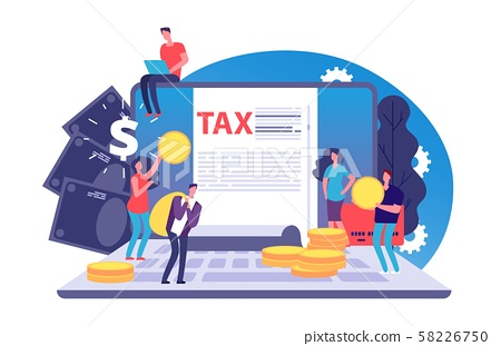 Online tax vector concept. Tax form and tiny people with money on notebook. Bill payment online 58226750