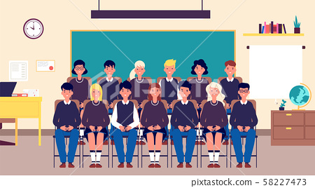 Class group portrait. Classmates, student in classroom. Teenagers in school uniform photo for memory 58227473