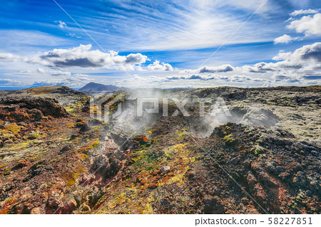 Exotic view of lavas field in the geothermal 58227851