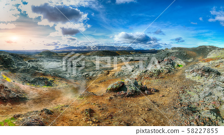 Exotic view of lavas field in the geothermal 58227855