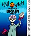 Halloween holiday cartoon design with skeleton 58229206