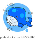 blue whale - watercolor hand drawing vector paint 58229882