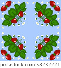 Figure, illustration. Bush strawberries with three red berries and white flowers. 58232221