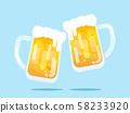 two mugs of beer flat design 58233920