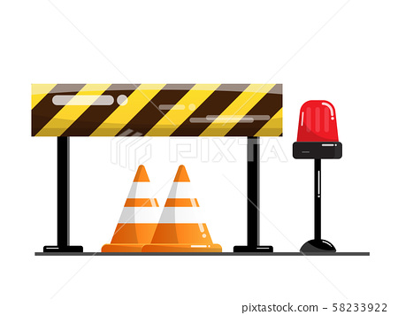 road and street barrier, traffic warning sign 58233922